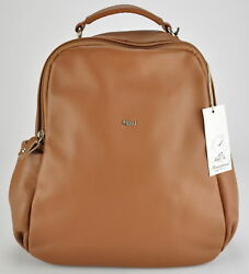 BNWT Soft backpack woman leather bag Bruno Rossi Florence X184 BEIGE