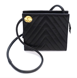 Chanel Designer Classic Chevron Black Leather Vintage Shoulder Bag