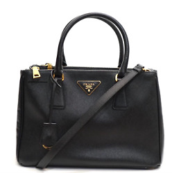 Prada Designer Double Zip Lux Black Saffiano Leather Tote Shoulder Bag
