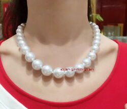 Australia Top 1812-14mm Real South Sea Perfect Round White Pearl Necklace 14k