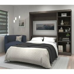 Bestar Pur 84 Full Wall Bed With Storage In Bark Gray