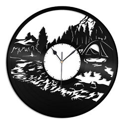 Camping Vinyl Wall Clock Vintage Record Gift for Men Women Home Room Decoration