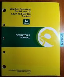 John Deere Weather Enclosure For Gt And Lx Lawn And Garden Tractor Operator Manual