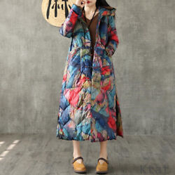 Women Floral Printed Chinese Style White Duck Down Coat Hooded Jackets Warm Coat