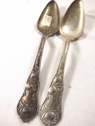 Vtg 1910 Wm Rogers And Son Is Silver Plate 2 Fruit Spoon Orange Blossom Pattern