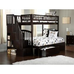 Atlantic Furniture Westbrook Staircase Storage Bunk Twin Over Full In Espresso