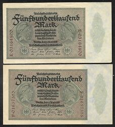 Germany - 4 Varieties Of 500000 Mark 2 Unlisted - 1923 - P88 - Xf To Au
