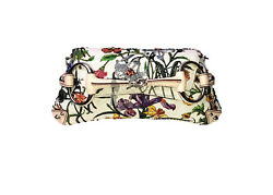 MUSEUM PIECE GUCCI FLORA FLORAL EMBROIDERED BEADED HORESEBIT BAG CLUTCH
