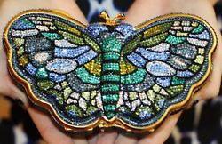 JUDITH LEIBER SWAROVSKI CRYSTAL STAINED GLASS MADAME BUTTERFLY MINAUDIERE BAG