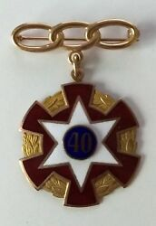 Odd Fellows Antique Masonic 10k Gold Ioof 40 Year Fraternal Pin With Case
