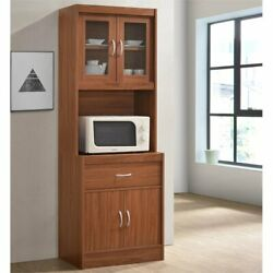 Hodedah Kitchen Cabinet With 1 Drawer Plus Space For Microwave In Cherry Wood