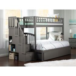 Atlantic Furniture Westbrook Staircase Storage Bunk Twin Over Full In Gray