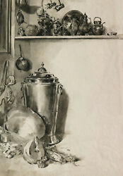 Attributed Antoine Vollon French Drawing Interior Kitchen Still Life Painting