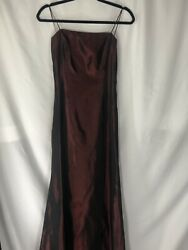 Cache Womens Long Red Black Shiny Evening Dress Back Detail Size 4 $50.00