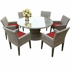 Florence 60 Outdoor Patio Dining Table With 6 Chairs With Arms In Terracotta