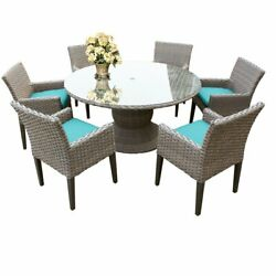 Florence 60 Outdoor Patio Dining Table With 6 Chairs With Arms In Aruba