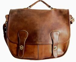 VTG Coach Swag Bag NYC Pre-Creed Distressed Leather Crossbody Briefcase Rare 70s