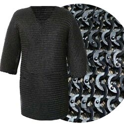 Medeival Chainmail Shirt Flat Riveted With Washer Black Hauberk Xxl S C Exports