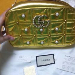 GUCCI GG Marmont Pearl Chain Shoulder Bag Gold Pouch Auth New Rare w Guarantee