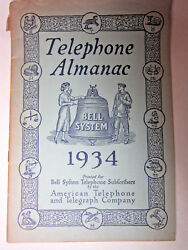Vtg 1934 Telephone Almanac Bell System American Telephone And Telegraph Ships Free
