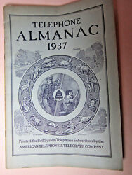 Vtg 1937 Telephone Almanac Bell System American Telephone And Telegraph Ships Free