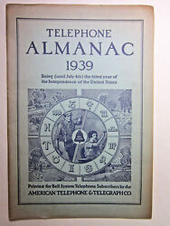 Vtg 1939 Telephone Almanac Bell System American Telephone And Telegraph Ships Free