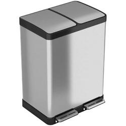 Stainless Steel 16 Gallon Step-On Multi-Compartments Trash Recycling Bin Bag New
