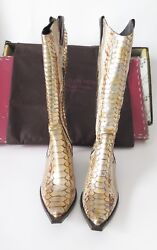 Donald J. Pliner Gold Python Boots Western Couture Collection Size 6 1/2 Used