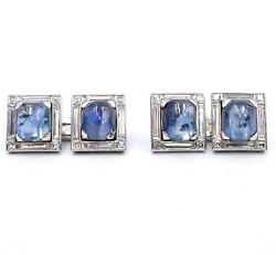 Natural Diamond And Sapphire Cufflinks Made In 18K White Gold Signed By Brevet