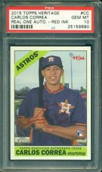 2015 Topps Heritage Carlos Correa Red Ink RC Rookie Autograph 66 PSA 10 Auto