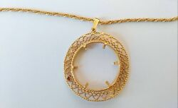 14k Yellow Gold 30 1/2andrdquo Vintage Ladies Rope Chain Necklace And Pendant Frame 27 Gm