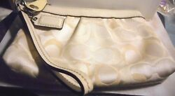 Coach wristlet with key chain and tag beige brocade print