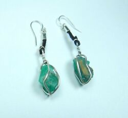 Colombian Emerald Earrings 21.50 Cts Natural Crystal 925 Silver- Leather Muzo M