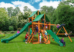 Gorilla Playsets Great Skye II Cedar Wooden Swing Set With Green Vinyl Canopy