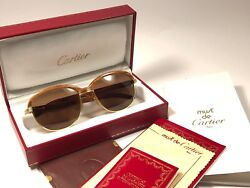 VINTAGE CARTIER MALMAISON PRECIOUS BUBINGA LIGHT WOOD 54MM SUNGLASSES FRANCE