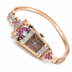 Vintage 14k Rose Gold Watch Signed By Dinhofer With Diamond And Ruby Accents