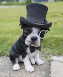 Boston Terrier Dog Top Hat Bow Tie Sitting Figurine Decor Home Garden New