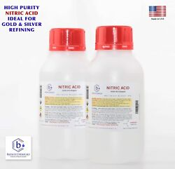 Bausch Nitric 70 Acid Hno3 1 Liter 2xhl Highest Purity Gold Silver Refining