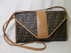 Authentic *FENDI* Zucca  X-BodyClutch  ITALY  S#274-800200  Leather Canvas EUC
