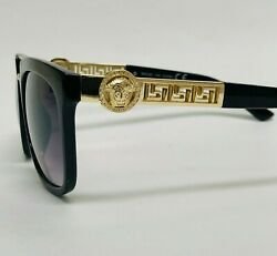 Fashion Gold With Black White Clear Lens Frames Square Meander New Sunglasses $14.99
