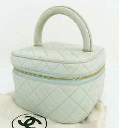 Auth CHANEL Light Blue Quilted Leather Cosmetics Pouch Vanity Travel Bag #28185