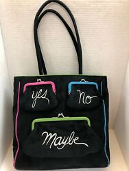Vintage Lulu Guinness Black Suede And039yes No Maybeand039 Tote Shoulder Handbag