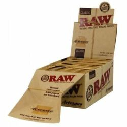Raw Rolling Paper Artesano King Size Tray + Papers + Tips Ful Box Of 15