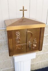 + Nice Older Bronze Church Tabernacle with Key + 23 1/2