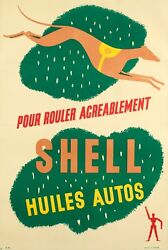 Original Vintage Poster - Shell - Oil And Gas - Automobile - Greyhound - 1925