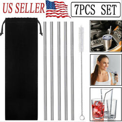 5 Pcs 10.5quot;Stainless Steel Metal Drinking Straw Straight Straws1 Cleaner Brush $6.69