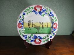 Sale Antique Stick Spatter Sporting Series Rabbitware Plate Charger Tennis Rare
