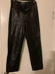Lafayette 148 Ny High Waist Leather Pants Butter Soft Lined Straight Legs Sz 6p