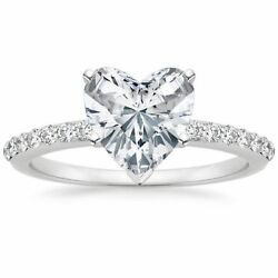 1/2 Cts Round Heart Cut Natural Diamonds Anniversary Ring In Fine 14k White Gold