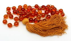 FINE ANTIQUE CHINESE COGNAC AMBER PRAYER BEADS NECKLACE 79.9 GRAMS